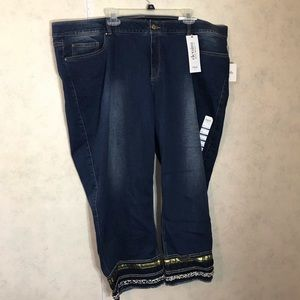 Cropped embellished straight leg Jean